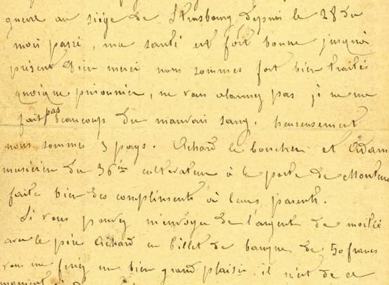 List M.Vallier'a – francuskiego jeńca wojennego przetrzymywanego w Nysie.